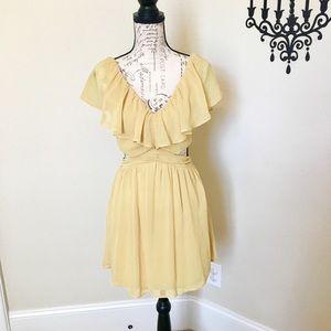 Cute Yellow Ruffle Summer Dress with Cutouts